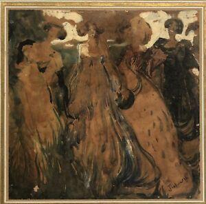 """Circa 1890 art nouveau Austrian? / German ?Painting  Signed L Right """"Four women"""""""