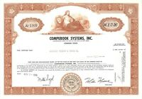 Compubook Systems Inc > 1969 New Jersey old stock certificate share