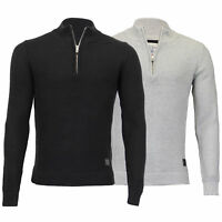 Mens Jumper Brave Soul Knitted Funnel Neck Cotton Pullover Sweater Waffle  Winter 79872f578a