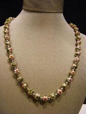 "Champleve Cloissone 20"" Beaded Necklace Vtg Antique Chinese Enamel 3/8"" beads"