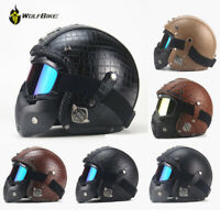 Vintage Motorcycle Helmet PU leather With Face Mask Chopper Open Face 3/4 Helmet