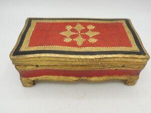 Florentine Gilt Trinket Jewelry Box Vintage Italy Hinged Bright