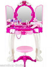 Large Girls Toys Gift Game Dressing Table Glamour Mirror Play Set Beauty Makeup
