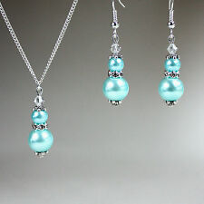 Light blue crystal pearl vintage necklace earrings silver wedding bridesmaid set