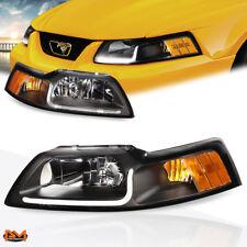For 99-04 Ford Mustang LED DRL Black Housing Amber Corner Headlight/Lamp Pair
