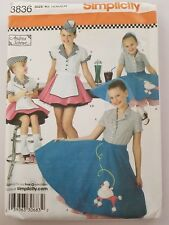 Simplicity 3836 Girls Pattern Poodle Skirt Soda Sewing UC FF Sz 7 8 9 10 12 14