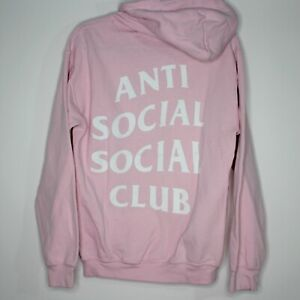 Anti Social Social Club ASSC Mens Small Pink Spell Out Hoodie L350