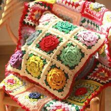 Handmade Crochet Sofa Car Back Cushion Flower Retro Stereo Flower Edge Pillow