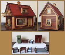 Puppenhaus um 1940 - 138 Teile - Puppe Haus Holzspielzeug Puppenmöbel Möbel rara