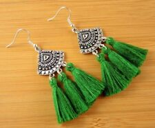 Statement Pair of Dark Green Cotton Tassels Dangle Fashion Boho Earrings #1447