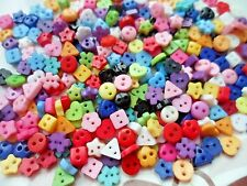 200pcs Novelty Tiny Buttons Heart Star Square Flower Snow Triangle Round 6mm