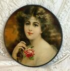 FLUE COVER LOT #116 Victorian Woman with Pink Rose Portrait