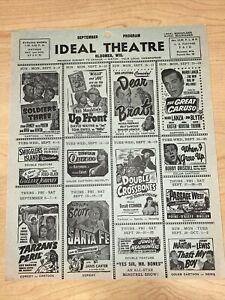 VINTAGE 1951 September Bloomer Wisconsin Ideal Theater Program Tarzans Peril