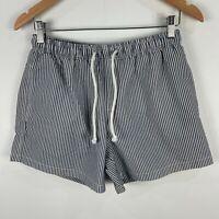 Zara Mens Shorts Medium W31 Grey Striped Elastic Waist Drawstring Pockets