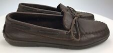 Mens 12 Minnetonka Brown Moose Hide Leather Weekender Slip On Moccasin Shoes 892
