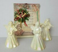 3 Vintage White Iridescent Angels Singing Choir Instruments Plastic Scroll 3.5""