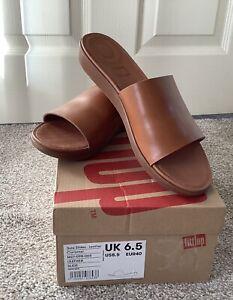 NEW Fit Flop Sola Slides Caramel Leather Uk 6.5 / eur 40