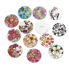 "Lot of 10 BIRDS FLOWERS White Wood Buttons 3/4"" (20mm) Scrapbook Craft (5697)"