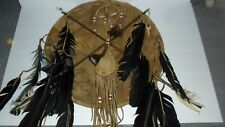 Hand Made Navajo Leather Ceremonial Shield with Medicine Bag and Wheel