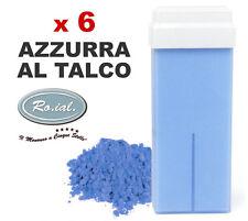 6 x ricariche cera AZZURRA TALCO 100ml ROIAL cartucce ceretta rullo manipolo