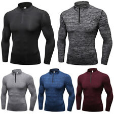 Men Long Sleeve Stand Collar Velvet Sports Tops Fitness Training Sweatshirt