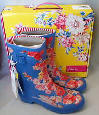 Joules Molly Welly Blue Floral Wellingtons Wellies Mid Height Festival Box Sz 8
