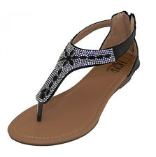 3ee4f61af75 Crystal Rhinestone Jeweled Thong Gladiator Low Wedge Black Sandals Back  Zipper