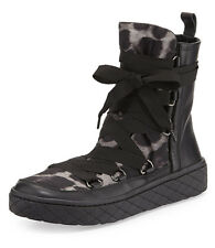Moncler Black Zoe Leopard-Print Nylon Lace Up Platform Boots Size 36