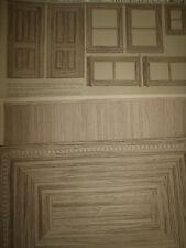 Dollhouse Wallpaper Diorama Rooms Flooring Wainscoting Windows Doors 3 Piece LOT