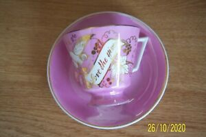 """VINTAGE PINK PEARLWARE CUP & SAUCER + WHITE GOLD FLORAL & BIRD """"LOVE THE GIVER"""""""