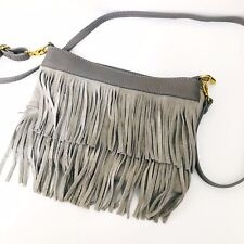 Genuine Leather Grey Tassel Crossbody Bag Made In Italy *NEW*