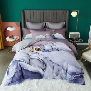 Egyptian Cotton Bedlinen Marbling Bedding Set Duvet Cover Flatsheet  Bed Set