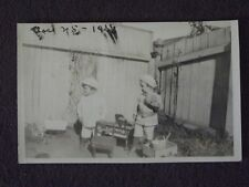 BOYS PLAYING IN YARD WITH TOYS ALL AROUND Inc PIANO & WAGONS Vtg 1918 PHOTO