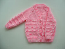 BABY GIRL'S CARDIGAN, HAND KNITTED, PALE PINK, 0-3M, LONG SLEEVE