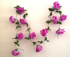 Rosengirlande weiß/purple  ca.250 cm  Blüte ca. 12 cm Kunstblumen -Seidenblumen