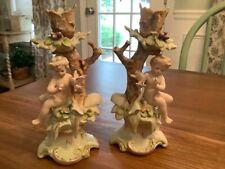 Set of 2 Vintage Arnart Porcelain Fairy Cherub Angel Candle Holders Antique