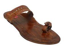 US Indian Ladies Kolhapuri Leather Handmade Chappal / Sandals Khussa Jutti SS11