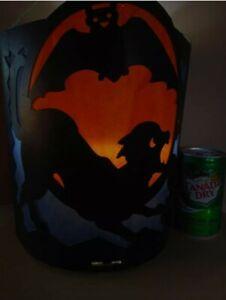 RARE Vintage Halloween 1930s Beistle 2 Sided Lantern Witch Black Cat Blue SCARCE