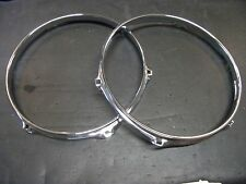 "Pair (2) New 10"" Chrome Popcorn Snare Drum Hoops. Batter & Snare Side 6 Lug Rims"