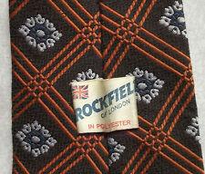 ROCKFIELD OF LONDON VINTAGE WIDE TIE RETRO 1970s MOD CASUAL DARK BROWN PATTERNED