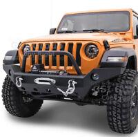 Full Width Front Bumper+Winch Plate+Fog Light+D-rings Fit 18-19 Jeep JL Wrangler