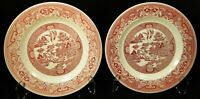 """Royal China Pink Willow Ware Luncheon Plates 9 1/4"""" Red Set of 2 Excellent"""