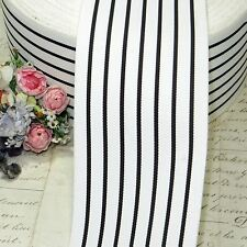 "3"" Wide Vtg Black White Pinstripe Grosgrain Hat Ribbon Trim Wedding Cake Cocarde"