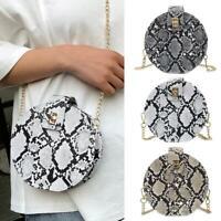 Stylish Women Round PU Leather Chain Crossbody Shoulder Bag Handbag Tote Purse