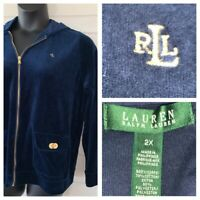Ralph Lauren LRL Sz 2X Rich Blue Velour Full Zip Hoodie Embroidered Logo Jacket
