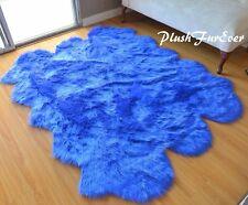 "58"" x 72"" Royal Blue Sheepskin Sixto Area Rug Acrylics Nursery Accents Cute Rugs"
