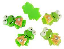 Resin Keroppi Frog Stripe Dress Flatback Embellishment Cabochons Green Clips Bow