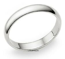 SOLID 18K WHITE GOLD MENS DOME WEDDING BANDS RINGS UNISEX 4MM FOR MENS & WOMENS