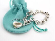 Tiffany & Co RARE Silver 18K Gold Heart Arrow Charm Bracelet Bangle!