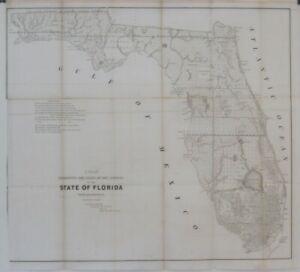 Original 1853 Survey Map FLORIDA Indian Boundary Everglades Pensacola Okeechobee